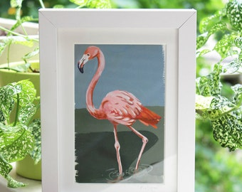 Framed Painting of Flamingo