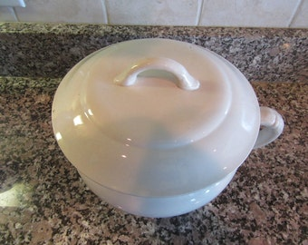 Vintage white ironstone chamber pot with lid- maker S F & J (England) - fine condition, beautiful, functional, great home decor