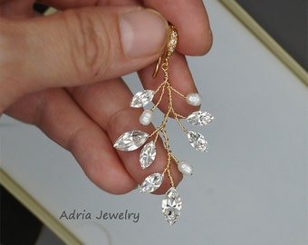 Gold bridal earrings Crystal Wedding Earrings Swarovski Rhinestone Earrings Leaf Earrings Rhinestone Wedding Jewelry  Gold Wedding earrings