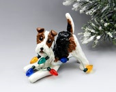 Wire Fox Terrier Christmas Ornament Figurine Lights Porcelain