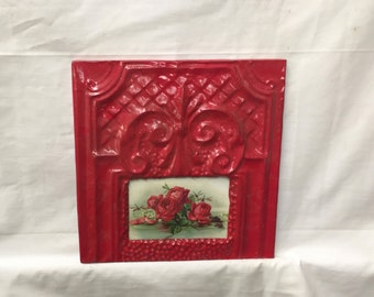 AUTHENTIC Tin Ceiling 4x6 Antique Red Picture Frame Reclaimed Photo 286-16