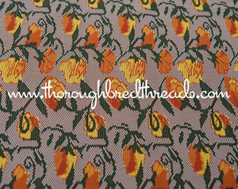 Mod Garden - New Old Stock  Vintage Fabric 60s 70s Fun Flowers Roses Orange Yellow