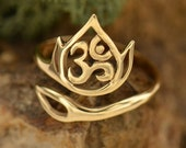 Openwork Lotus and Ohm Adjustable Ring - Natural Bronze Finish - Insurance Included