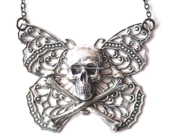 Yriyega Filigree Butterfly Skull Necklace No.2 - Soldered Antique Sterling Silver Plated American Brass - Insurance Included