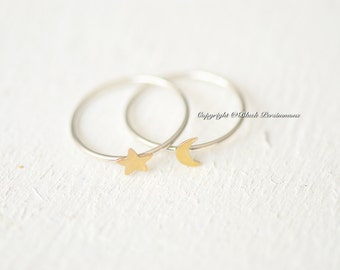 Sterling Silver and Bronze Moon and Star Ring Set - Insurance Included