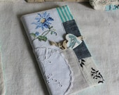 Cardholders 72 pockets bird flower embroidery blue