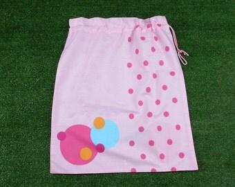 Pink cotton drawstring bag with spots, large library bag, toy bag or storage bag