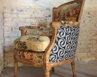 French Bergere Chair - Louis XVI Style Chair - French Upholstered Chair - French Provinicial Arm Chair - Antique French Louis Arm Chair