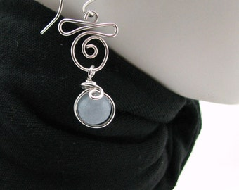 Serenity Angelite Sterling Silver Wire Wrapped Dangle Earrings Handmade by Pixes Treasure Chest