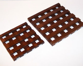 Wood TRIVETS - Set of 2--Handmade from Mahogany hardwood