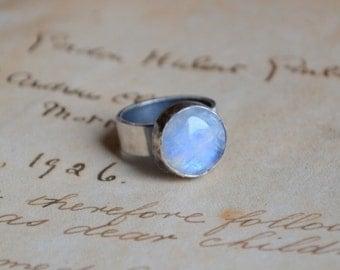 Rainbow Moonstone Ring Sterling Silver Metalwork
