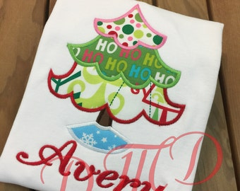 Skirted Christmas tree Applique Shirt