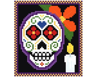 PDF -- Sugar Skull Halloween Cross Stitch Pattern