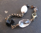 Raw Black Tourmaline and Chandelier Crystal Bracelet - Moonshine and Meteors No. 34