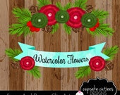 WaterColor Swag and Banner- Holiday Christmas Single  Digital Clipart Elements Commercial use Instant Download
