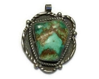 Native American silver and turquoise pendant - Early 1970s - 1.5 x 1 inch