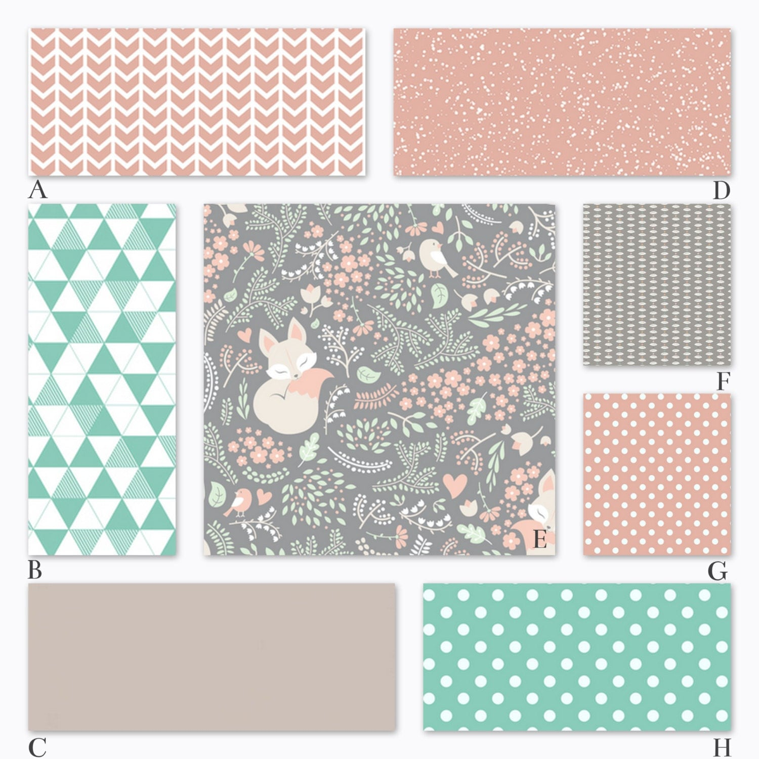 girl woodland baby crib bedding in peach mint and gray. Black Bedroom Furniture Sets. Home Design Ideas