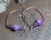Amethyst Earrings Magenta Purple Magnesite Copper Hoop Earrings Beaded Hoops Boho Rustic