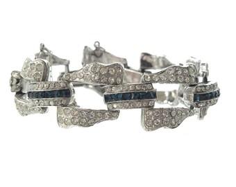 Antique Sapphire Art Deco Bracelet, 1920s Sapphire Rhinestone Bracelet, Wedding Jewelry, Statement Art Deco Jewellery
