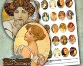 Mucha Cameos 30x40mm Digital Collage Sheet Pritnable for Pendants, Cameos, Magnets, Resin Jewelry, Bezel Cabs, Jewelry Supply, Vintage Art