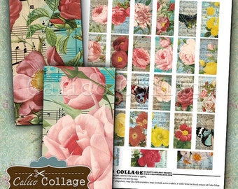 Vintage Botanical, Collage Sheet, 1x2 Domino Images, Rose Collage Sheet, Printable Download, Digital Images, Printable Paper