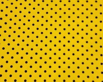 Yellow with black 1 yard knit small dots lycra cotton