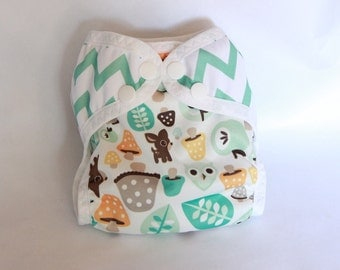 CUSTOM / Chevron and woodland diaper cover/waterproof/ cloth diaper cover /wrap/ leg gussets/ snaps or velcro
