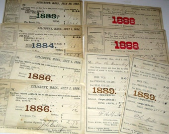Antique Victorian - 1883 -  1889 -  Salisbury, MA Tax Bills or Receipts for Collecting or Crafting