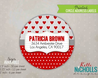 Valentine's Day Personalized Circle Return Address Labels, Red Hearts and Polka Dots