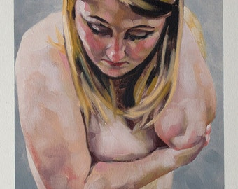 "Original Oil Painting on Paper, Contemporary Nude Figurative Art Portrait Painting, Blonde Female Art - ""A Paleness"""