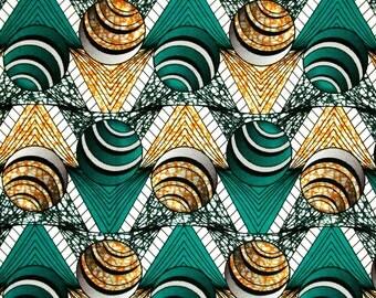 African Fabric 1/2 Yard Cotton Wax Print AQUA GRAY Golden YELLOW Abstract