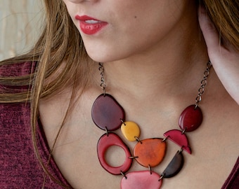 Red pink yellow brown bib necklace