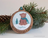 Baby's First Christmas Ornament Personalized Hand Embroidered Woodland Bear Custom Holiday Keepsake for 2016