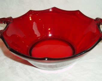 Vintage Red Ruby Glass Bowl / Dish, Candy Dish, Nut Bowl, Red Glass Serving Vessel with scalloped trim and applied handles