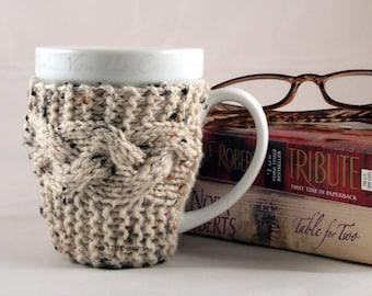Aran Fleck Hand Knit Coffee Mug Cozy Coaster