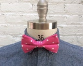 Valentine SALE Vintage deadstock hot pink and white polka dot bow tie