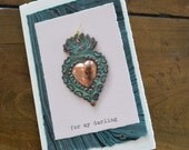 My Darling Copper Flaming Heart Milagro Greeting Card
