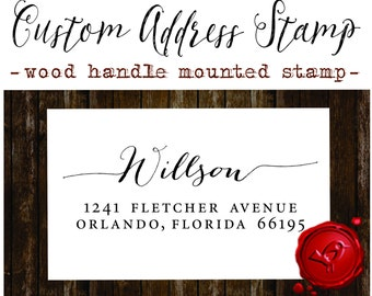 RETURN ADDRESS STAMP Custom calligraphy personalized  address wood handle mounted rubber stamp - style 1172J