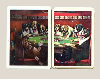 Poker Playing Dogs Card Deck and Soap Gift Set Dad's Lucky Deal Vintage Avon Father's Day Playing Cards Decal Soap in Box Vintage Cards