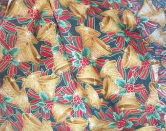 Christmas Fabric Bells Holly n Berries Cotton Fabric Kaufman 44-45 wide