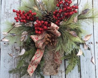 Christmas Wreath, Wreaths, Door Wreath Alternative, Country Christmas Decor