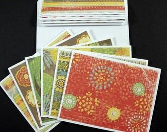 "6 Wild Saffron Note Card Set - Matching Envelopes - 4.25"" x 5.5"""
