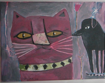Painitng of pink cat and black dog, original folk art painting