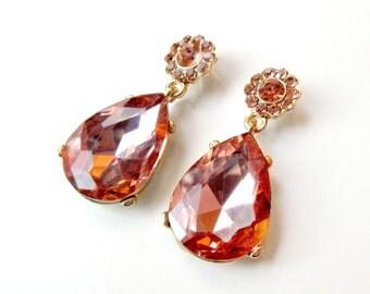 Blush Pink and Gold Rhinestone Teardrop Earrings - Blush Pink Rhinestone Earrings - Teardrop Pear Dangle - Pink Peach Rhinestone