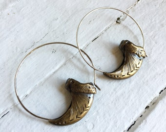 Bear claw hoop earrings in antiqued brass rugged tribal primitive statement hoops