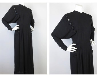 Vintage 1930s, 40s Batwing Sleeve Old Hollywood, Black Crepe Dress, Sz S