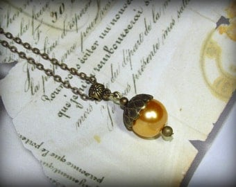 Gift for Her Acorn Necklace Gold Glass Pearl on Antique Bronze Brass Chain Single Pearl