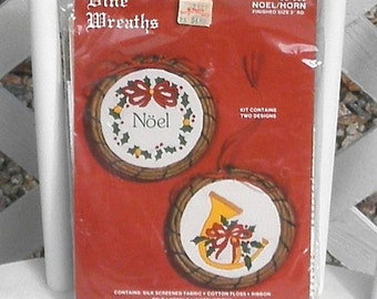 Christmas Vine Wreaths Embroidery Kit Vintage Crewel Ornaments Noel Horn Lynn Craft Made in USA