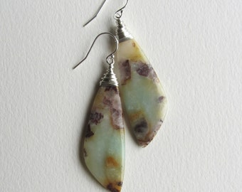 Wing Shaped Amazonite Statement Earrings Made in Seattle