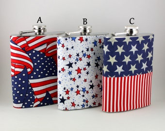 Patriotic Flask Cover, 4th of July Military stainless steel flask, handmade washable removable cover